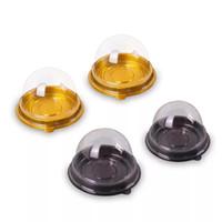 tamaños de caja de pastel de boda al por mayor-50 sets = 100 unids Mini Tamaño Negro Dorado Inferior de plástico Cupcake Cake Dome Container Cajas del favor de la boda Cupcake Boxes Supplies