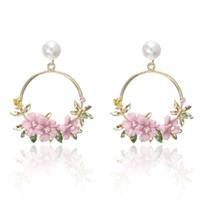 aros dourados venda por atacado-Estilo coreano Flor Brincos de Argola Para As Mulheres de Ouro Cor Rodada Círculo Brincos De Cristal Presente Para Jóias de Casamento