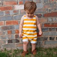 ingrosso tuta gialla per ragazzi-Bambino neonato Vestiti per bambini Giallo A Righe Neonato Toddler Girls Boys Pagliaccetto Tuta Abbigliamento Outfits Abbigliamento per Neonate Tute B11