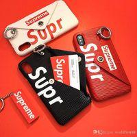 geldbörse telefon fallmix großhandel-Designer Fall Geldbörsen Mode SUP Kartensteckplätze Telefon Fall Kreditkarte Brieftasche Schutz Fällen für iPhone X 8 7 Plus 6 Plus