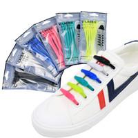 limpiadores de zapatos al por mayor-Nuevo Silicón Ajustable Perezoso Elástico Sin Cordón Cordones de Silicona Coloridos Cordones de Zapatos Fácil Zapatillas para Adultos Niños 14 UNIDS / paquete