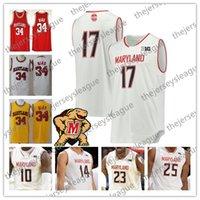 camiseta amarilla de baloncesto juvenil al por mayor-2019 Custom Maryland 100th Terps Cualquier nombre Número Rojo Blanco Amarillo # 1 Anthony Cowan Jr. 25 Jersey de baloncesto de la universidad NCAA de Jalen Smith