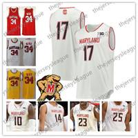 camisa de basquete amarelo vermelho venda por atacado-2019 Custom Maryland 100th Terps Qualquer Número Número Vermelho Branco Amarelo # 1 Anthony Cowan Jr. 25 Jalen Smith NCAA College Basketball Jersey
