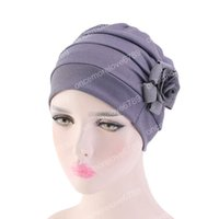 ingrosso accessori da fiore per cappelli-Donne musulmane Solid Sleep Ruffle Flower Turban Hat Cancer Chemo Berretti Bandana Headwrap placcati copricapo Accessori