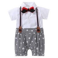 ingrosso corpo del bambino del costume-AmzBarley Baby Boy Pagliaccetti Vestiti appena nati Bretella Barba Papillon Gentleman Abito formale 0-18M Cotton Body Suit costume party