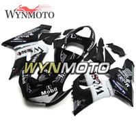 kawasaki ninja west toptan satış-Kawasaki ZX6R 05 06 Için motosiklet Enjeksiyon Tam Kaplama ZX-6R Ninja 2005 2006 ZX-6R 05 06 ABS Plastik Gövde Kitleri Batı Siyah Beyaz