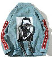 ingrosso ragazzo asiatico-2019 nuovo arrivo moda popolare stampato degli uomini tessitura cappotto di jeans galleggiante lavato sciolto ragazzi risvolto cappotto di jeans abbigliamento formato asiatico s-2xl