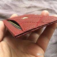cartão vermelho escuro venda por atacado-Portadores de Cartão de Caviar Classic Mini Carteiras Homens Mulheres Cartão Titular Dark Red Couro titular do cartão Caviar projeto de crédito com caixa