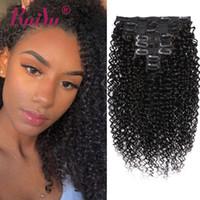 insan saçı tam kafa paketi toptan satış-Brezilyalı Virgin Saç Sapıkça Kıvırcık İnsan Saç Uzantıları Klip Doğal Renk 8 Adet / takım Klip Ins Paket Tam Başkanı 10