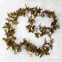 Wholesale autumn garland resale online - Autumn Simulation Little Rose Artificial Lotus Indoor Silk Flowers Fake Mandala Cane Vine Conduit Decorate Garlands Birthday Party hfb1