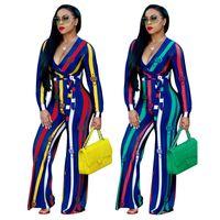 ingrosso jumpsuits a basso taglio-Primavera ed estate Moda donna Streetwear Office Lady Stampa Low-cut Deep V Neck Tuta a righe blu e bianca rossa