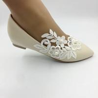 плоские шампанские сандалии оптовых-Новые кружева шампанского цветы Плоская невеста, подружка невесты, обувь принцессы женская обувь ручной работы свадебные сандалии свадебные туфли EU35-41