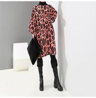 grande taille robes coréennes achat en gros de-Style coréen Manches longues Femmes Hiver Robe Chaude Rose Vert Motif Léopard Femme Casual Midi Robes Plus La Taille