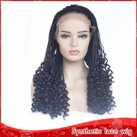 Wholesale hair styles for braids for sale - Fast Shipping High Quality Dreadlock Hair Black Braided Wigs With Curly Style Glueless Synthetic Lace Front Wigs for Women Free Part inch