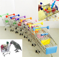 Wholesale toy supermarket shop for sale - Group buy New Mini Supermarket Shopping Cart Colorful Funny Pretend Play Toys Trolley Pet Bird Parrot Hamster Toy