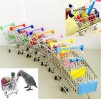 ingrosso carrelli della spesa-Nuovo mini carrello del supermercato colorato divertente Pretend gioca giocattoli carrello pet uccello pappagallo criceto giocattolo