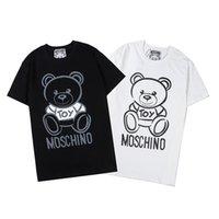 impressões chiques top venda por atacado-Mens Womens Unisex Oversize Moda T-shirt curto da luva do Tops 2 cores impressão Urso Simples Estilo Chic B103871Z Casual