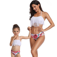 12 monate badeanzug mädchen großhandel-Familie passenden quaste badeanzug designer badeanzug split druck einfarbig bikini sexy schwimmen waten sport baden
