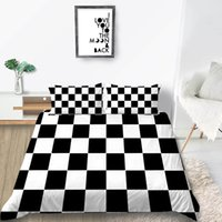 Wholesale hot pink black bedding sets resale online - Grid Bedding Set Black White Classic Simple Duvet Cover Hot Sale King Queen Twin Full Double Single Soft Bed Cover with Pillowcase