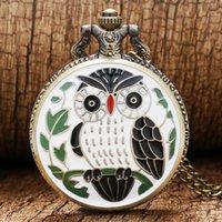 coruja relógio mulher venda por atacado-Padrão Relógios de bolso Fob Bronze quartzo relógio de bolso Moda Owl Vintage Branco Caso Mulheres Colar da menina das senhoras Homens com a corrente Reloj