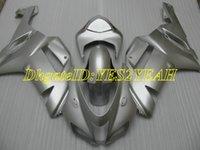 ingrosso plastica kawasaki ninja zx6r-Kit carena moto custom per KAWASAKI Ninja ZX6R 636 07 08 ZX 6R 2007 2008 Carenatura grigia plastica ABS + Regali KB21