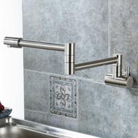 ingrosso rubinetti per il montaggio a parete da cucina-Pieghevole singolo rubinetto della cucina lavello Pot Filler Faucet acqua fredda montaggio a parete rubinetto rubinetti in ottone cromato spazzolato olio di nichel lucidato