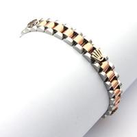 ingrosso braccialetti a catena per le donne-Beichong moda argento oro acciaio inossidabile corona catena braccialetto di collegamento braccialetto per regalo regalo gioielli orologio da donna partito regalo degli uomini