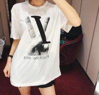 ingrosso donne di tshirt di amore-19SS HOT tshirt Donna Fashion Designer Tshirt Peace and Love Estate manica corta T-shirt da donna stampa harajuk Top tee shirt femme