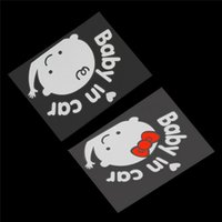 Wholesale baby board stickers for cars resale online - Baby In Car Cartoon Car Stickers Reflective Warming Car Sticker Baby on Board On Rear Windshield For Baby Girl Boys