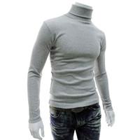 jersey térmico negro al por mayor-Cálido otoño invierno para hombre suéter térmico verde borgoña blanco negro gris jersey de cuello alto estiramiento suave suéter delgado