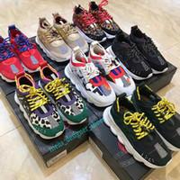 цепи для обуви оптовых-Chain Reaction Дизайнерские кроссовки Мужчины Женщины Мода Роскошные плоские повседневные туфли с тиснением под подошву Тренер Кожаные спортивные кроссовки
