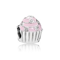 Wholesale cupcake easter for sale - Group buy NEW Sterling Silver Authentic EN68 Sweet Cupcake Bead Pink with Clear CZ Bracelet Original Women Jewelry