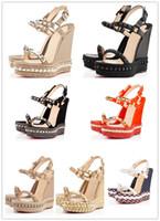 plataforma sexy zapatos de verano al por mayor-Sexy Summer Cataclou Studs Plataforma Alpargatas Sandalias Cuña Señoras Sandalias de Gladiador Zapatos de Mujer de Fondo Rojo Diseñador de Lujo Fiesta Mié