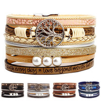 Wholesale leather wrist cuff for women resale online - Boho Multilayer Tree of Life Leather Wide Cuff Handmade Wristbands Wrist Braided Magnetic Buckle Casual Pearl Bangle Bracelet for Women Girl