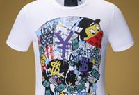melhores marcas de homens venda por atacado-Mens Carta de Dinheiro de Luxo Imprimir Camisetas Marca de Manga Curta Tshirt Desenhador Pato Tees Moda Masculina Solto Streetwear Tees Tops