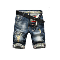 брендовая джинсовая одежда оптовых-New Fashion Mens Ripped Short Jeans Brand Clothing Bermuda Summer 98% Cotton Shorts Breathable Denim Shorts Male