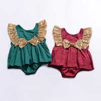 Wholesale onesie clothes resale online - Baby Girls Sequin Bow Romper Dresses Summer Boutique Jumpsuits Kids Climbing clothes Infant Toddler Flying sleeve Dresses Onesie C6114