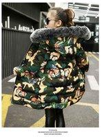 jaqueta de camuflagem de meninas venda por atacado-Pydownlake 2019 novo inverno meninas e meninos para baixo jaqueta crianças tendência engrossar casaco de algodão crianças borboleta impressão jaqueta de camuflagem