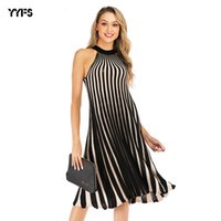 Wholesale dress repairs resale online - Women s Trend Wear Repair The Body Spell Colour Large Pendulum Skirt Stripe Knitting Halter Dress Female