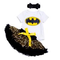 sarı tutu etek bebek kızı toptan satış-Ykloving Cadılar Bayramı Madeni Pul Kız Bebek Giyim Yarasa Karakter Baskılı Bodysuit Sarı Pullu Tutu Etekler Ücretsiz Kargo Giysi Y19050801