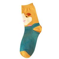 носки для тапочек оптовых-Stock 1 Pair Socks Women Comfortable Cotton Sock Slippers Printing Invisible Animal Pattern Socks 2018 Nov 30