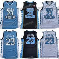 ingrosso tacchi per bambini-Gioventù Uomo Bambini NCAA North Carolina Tar Heels 23 Michael Jersey College Basketball Maglie Nero Bianco Blu Spedizione Gratuita