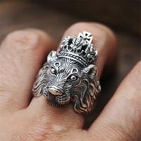 jóia leão mens venda por atacado-Mens Lion Rings - Metal Punk Carving Rei Leão Anel Para Mulheres Dos Homens - Cool Rock Designer Jóias (tamanho EUA 6 - 13)