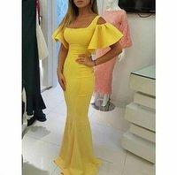 ingrosso breve vestiti di promenade gialle soffice-Abiti da sera Designer Prom Vestidos De Formature Yellow Square Scollo Abiti da sera a sirena a maniche corte