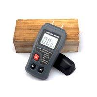 medidor de humedad higrómetro al por mayor-Emt01 0-99.9% Dos pines Medidor digital de humedad de madera Probador de humedad de madera Higrómetro Detector de humedad de gran pantalla lcd t190625