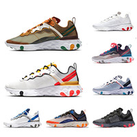 gelbe schale großhandel-Nike Tour Yellow react element 87 55 mens running shoes men women Orange Peel Sail triple black white Taped Seams Blue trainers sports sneakers