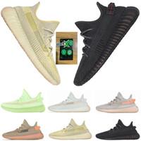 zapatos de los hombres de la marina de patente al por mayor-2019 Negro V2 Estático Reflectante Antlia Clay Hiperespacio Stock X Zapatillas de running para hombre de forma verdadera Kanye West Bred Mujer Diseñador de moda Zapatillas