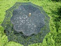 ingrosso ombrello di nozze nera-Ombrello in pizzo vintage per la festa di nozze Ombrello da sposa in pizzo fatto a mano bianco ombrellone ricamato in pizzo nero e beige