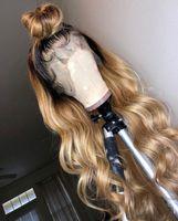 mode menschenhaar perücken großhandel-9A Grade 150% Dichte Echthaar Perücken Ombre 1b / 27 # Mode Welle volle Spitze Perücke reines Haar leimlose Perücke Lace Front Perücke