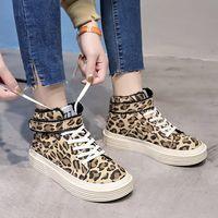 ingrosso scarpe da donna delle scarpe da donna-Moda inverno Studenti stile inglese Stivali corti Scarpe da donna Stivaletti tacco piatto Martin Stivali Leopard scarpe da skate in tela casual